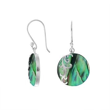 AE-7035-AB Sterling Silver Designer Earring With Round Abalone Shell
