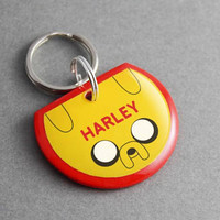 Pet ID Tag Jake - Adventure Time, Dog ID Tag, Cat Tag, Cartoon, Geek, Dog Collar, Cat Collar, Funny, Retro, Nerd, Gift for Men