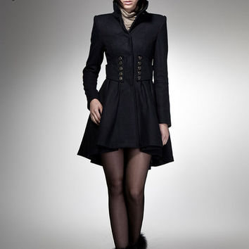 winter coat black coat princess coat wool coat  jacket cocktail coat outerwear tailored long coat long sleeves custom women FM 033--SIZE XS