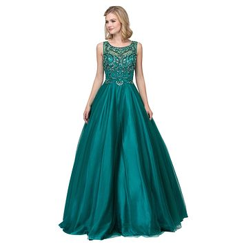Hunter Green Illusion Scoop Neck Beaded Long Prom Dress
