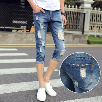 Summer Korean Slim Stretch Ripped Holes Men Casual Pants Jeans [6528671939]