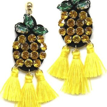 Pineapple Tassel Post Earrings