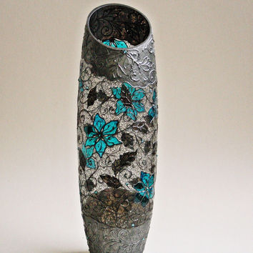 Vase, Hand Painted Vase, Glass Vase, Turquoise Home Decor, Black Lace