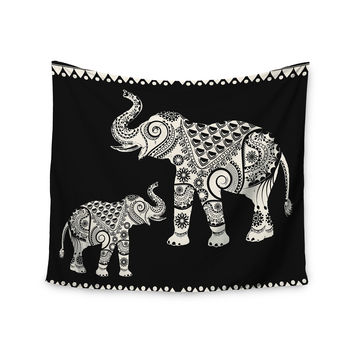 "Famenxt ""Ornamental Indian Elephant"" Black White Digital Wall Tapestry"
