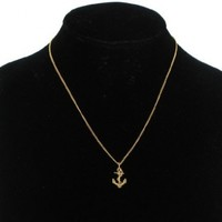 Pendant Necklace Anchor Nautical Symbol Gold Plated Charm USA Made