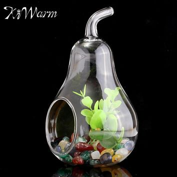 Pear Shape Glass Flower Vase Crystal Planter Hydroponic Terrarium Container Pot Figurines Craft Home Wedding Christmas Decor