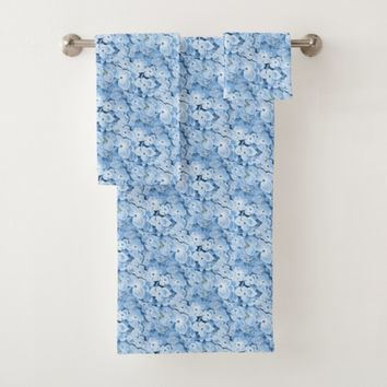 Blue Hydrangeas Floral Towel Set