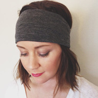 Charcoal Grey Headband Woman's Head Wrap Wide Boho Style