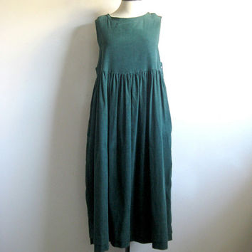 Laura Ashley Vintage 1980s Pinafore Grunge Evergreen Pinwhale Corduroy Cotton Jumper Dress 12US