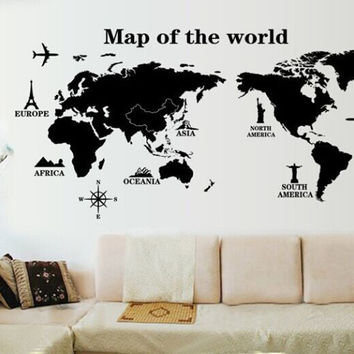 World Map Bedroom Living Room Waterproof Wall Sticker [6283997702]