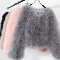 Coustomize Fashion women faux fur coat sexy Ostrich wool turkey fur coat long sleeve candy color feather fur short jacket