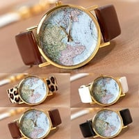 Retro World Map Watch Fashion Leather Alloy Womens Analog Quartz Wrist Watch 08 = 1956588804