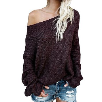 Knitted Women Hoodie Sweatshirt Long Sleeve Off The Shoulder Pullovers Overall For Women Winter Warm Hoody Track Sexy WS2349U
