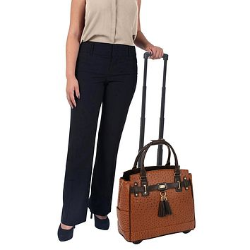 """""""THE UPTOWN"""" Ostrich Rolling iPad, Tablet or 15.6"""" Laptop Tote Carryall Bag"""
