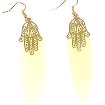 Hamsa Feather Earrings Ivory Plume Gold Tone Hand EG51 Fashion Jewelry