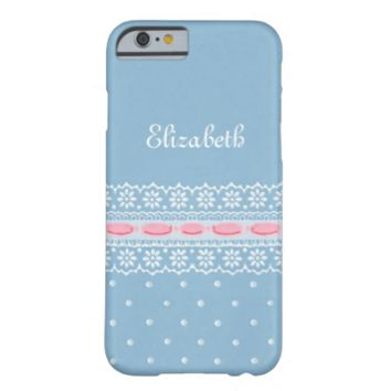 Cute Blue Polka Dots Girly Pink Ribbon Daisy Lace iPhone 6 Case