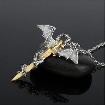 Glow In The Dark Dragon Sword Game Of Thrones Necklace
