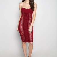 Burgundy Corset Lace Up Sleeveless Midi Dress