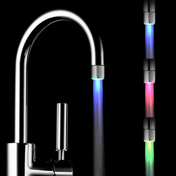 Hot 3 Color Sensor LED Light Water Faucet Tap For kitchen/Bathroom