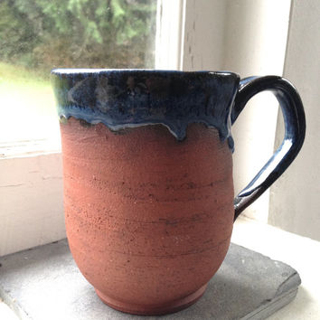 1/2 Glazed Blue 14oz Coffee Mug - Red Stoneware