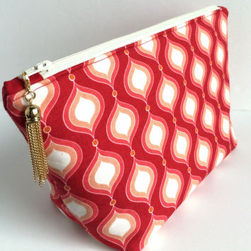 Large Cosmetic Bag, Large Makeup Bag, Red Makeup Bag, Red Cosmetic Bag, Large Zipper Pouch, Large Pencil Pouch