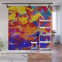 Abstract Blue Red and Yellow Dark Marble Colorful Pattern Wall Mural by epoliveira