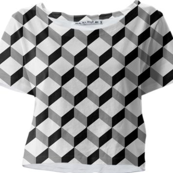 Black White Optical Illusion Cubes Graphic Modern Crop Top Tee created by Pasion4Fashion | Print All Over Me