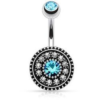 Nice Lake Blue Crystal Belly Button Rings Summer Body Piercing Ombligo, Sexy Navel Pirsing Punk Pircing Penetrate Jewelry