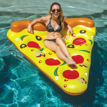Inflatable Pizza Slice Giant Swimming Pool Water Toy Holder Giant Pizza Yellow Floating Bed Raft Swimming Ring Air Mattress Boat