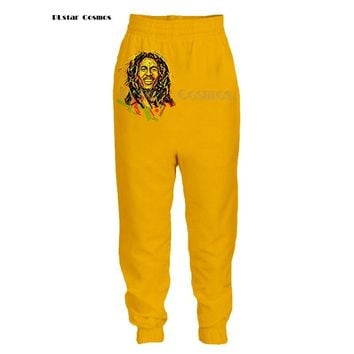 PLstar Cosmos Homme Casual Bob Marley 3D Printed hip hop style tops ants Cartoon 3D Print pants Plus size S-5XL