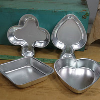 Retired Wilton Cake Pans • Playing Card Suite Set 1972 • Heart Club Spade Diamond • Vintage Wilton Cake Pan • Complete Set of 4 • Small