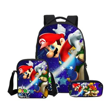 Girls bookbag VEEVANV 3Pc Set Cartoon Super Mario Kids Backpacks Children School Shoulder Bags Boys Laptop Bookbag Girls Travel Daypack Casual AT_52_3