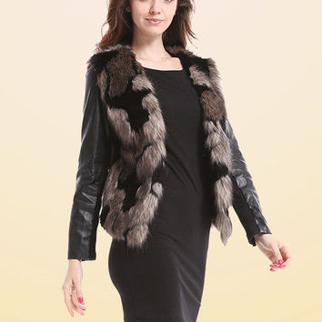 V-neck Fur Faux Leather Long Sleeve Jacket