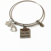 Create Your Own Happiness Expandable Bracelet Happiness Stacking Bracelet Happy Life Charm Bangle Happiness Expandable Adjustable Bracelet