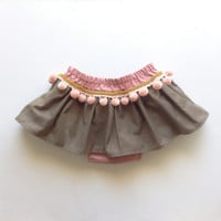 Boho Toddler Skirt, Bohemian Baby Skirt, Pink Pom Poms, Baby Girl Clothing, Boho Photo Prop