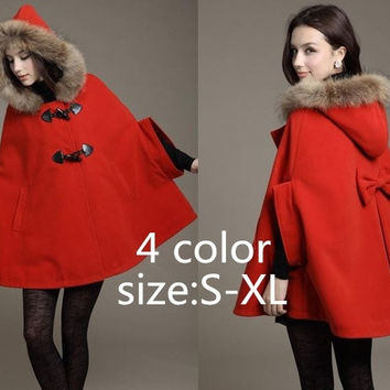 Fashion Women 's style Wool Coat Batwing Pea Jacket Shawl Cape Wrap Scarves Faux Fur Charm Hood Parka Poncho = 1945801604