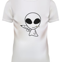 Unisex Alien with Gun Smoking Cartoon White T Shirt Size S M L XL