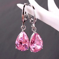 ON SALE - Raindrop Diamond Dust Infused Dangling Earrings in Diamond White or Blushing Pink