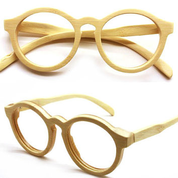 handmade round vintage bamboo  eyeglasses  sunglasses 1104 with wood box