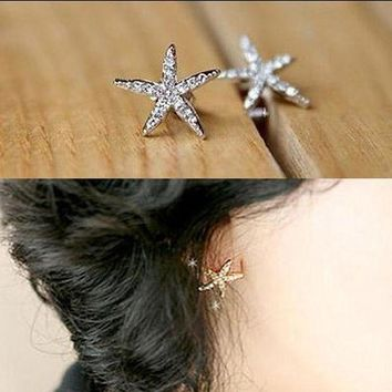 DCCKDV3 Full diamond starfish earrings rhinestone five-pointed star earrings