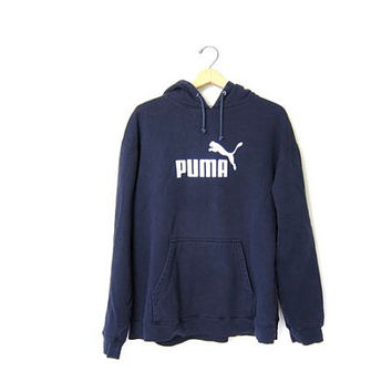 20% OFF SALE Vintage PUMA sweatshirt. Hooded sports sweatshirt. Navy blue cotton boyfriend hoodie. Sporty pullover. Slouchy hooded sweater.