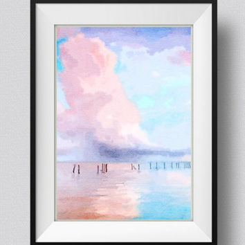 Seaside Afternoon,Watercolor Painting,Art Print, Home Decor, Pic no 44