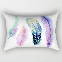 Watercolor Feather Rectangular Pillow by Smyrna