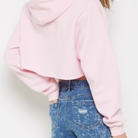 Pink Raw Edge Cropped Hoodie | Crop Tops | rue21