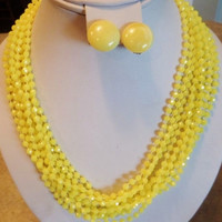 Vintage Signed Austria Lemon Yellow Multi Strand  Necklace & Clip Earrings Perfect For Spring