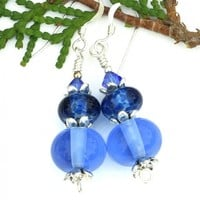 Blue Lampwork Earrings, Glass Swarovski Crystal Handmade Jewelry Gift