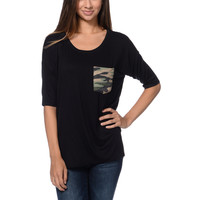 Lunachix Camo Print Black Pocket Tee Shirt at Zumiez : PDP