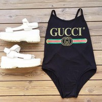 GUCCI Hot Sale Women Swimming Backless Cross One Piece Bikini Cotton Bodysuit