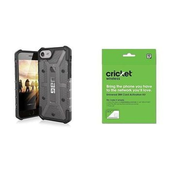 CREYRQ5 UAG iPhone 8 / iPhone 7 / iPhone 6s [4.7-inch screen] Plasma Feather-Light Rugged [ASH] Military Drop Tested iPhone Case and Cricket Wireless BYOD Prepaid SIM Card