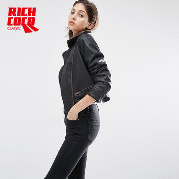 Leather Long Sleeve Zipper Outerwear Jacket a13152